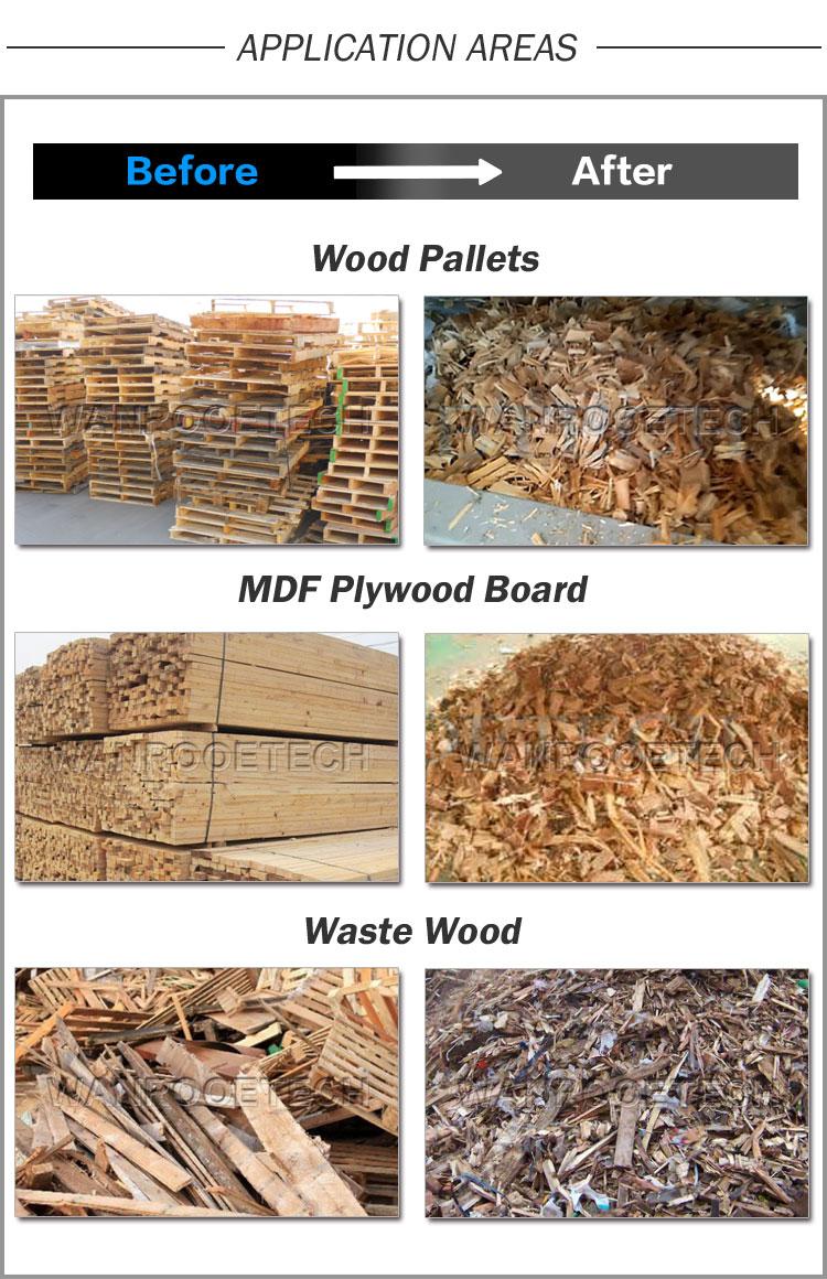 Waste Wood, MDF Plywood Board, Wood Pallet Shredder Machine application